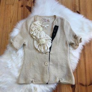 Anthropologie Short Sleeve Cardigan Sweater Wool